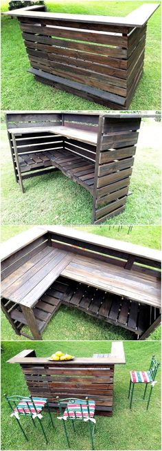 Here you can see a bar plan; this idea can be copied for the bar as well as for the home. The pallets are painted dark brown and it is looking nice, the idea is perfect to be used for serving the guests in a bar or at home.