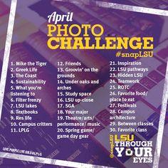 The itinerary of the #LSU Instagram Photo Challenge. #snaplsu http://statigr.am/contest/qmz/thirty-days-of-lsu