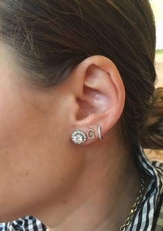 Single Diamond Initial Stud, Diamond Initial Earring, Initial, Initial Earring, Initial Stud, Diamond Letter Earring, Personalized Earrings by MilestonesByABC on Etsy
