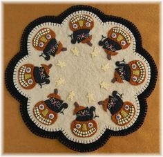 Boo Halloween Cats & Pumpkins Penny Rug/Candle Mat MAILED