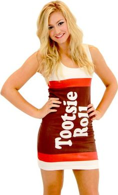 There are cute form fitting dresses for women in Nerds, Tootsie Roll, Blow Pops, Snickers, M&M's, Starburst, and more