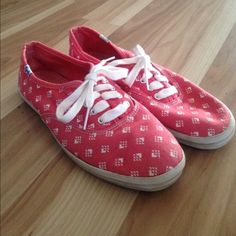 Women's Keds, size 7 US Barely worn, size 7 red/pink and white keds. really comfortable shoes. they have great soles and last a long time, from my personal experience. keds Shoes Sneakers