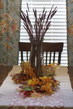 My table decorated for fall