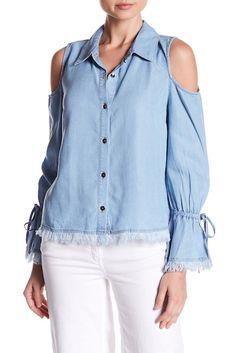 7fd2e70f9373 Image of Splendid Cold Shoulder Frayed Shirt Cold Shoulder