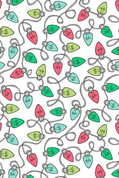 Christmas Xmas Holiday Lights Bulbs by caja_design - Hand illustrated Christmas lights on fabric, wallpaper, and gift wrap.  Winding holiday lights lines with lights in green, turquoise, and red on a white background.  #design #holiday #christmaslights #lights #diyholiday #diy #colorful #decorate #christmasdecor