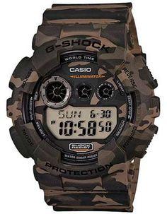 Casio Mens Large Case G-Shock - Camouflage - Flash Alert - World Time