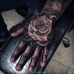 75 skeleton hand tattoo designs for men - manly ink ideas Rose Hand Tattoo, Rose Flower Tattoos, Rose Tattoos For Men, Hand Tats, Hand Tattoos For Women, Tattoo Flowers, Tattoo Sleeve Designs, Flower Tattoo Designs, Tattoo Designs Men