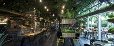 Segev Kitchen Garden, Hod HaSharon, Israel, 2015 - Yaron Tal architect egev Kitchen Garden is a new chef restaurant located in Hod-Hasharon near Tel Aviv. The restaurant is designed like a greenhouse with herbs hanging from all walls and ceiling and growing out of houseplants between tables. All herbs are real and used by the chef in the kitchen and gives the restaurant a fresh green aroma. All the materials used in the design of the restaurant are natural .