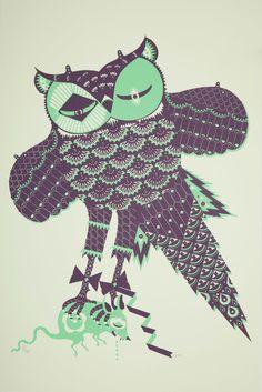 Asio Flammeus by Klaus Haapaniemi - silkscreen on paper Graphic Design Illustration, Illustration Art, Whimsical Owl, Owl Always Love You, Owl Print, Silk Screen Printing, Bird Design, Folk Art, Print Patterns
