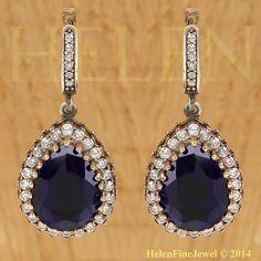 Hurrem Sultan Earrings Tear Drop Shape Sapphire by helenfinejewels