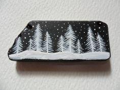 White snow trees on black sea glass Christmas by Alienstoatdesigns, $7.50
