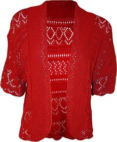 Plus Size Womens Crochet Knitted Shrug Cardigan Bolero Sweater Top * Read more at the image link. (This is an affiliate link) Bolero Sweater, Knit Shrug, Shrug Cardigan, Crochet Jacket, Bolero Top, Red Cardigan, Lace Jacket, Crochet Cardigan, Crochet Top