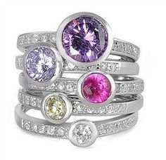 Stylish and a Must Have for your winter wardrobe. Stacked Color Diamond Metro Rings. Perfect for Promise, Engagement, Wedding Rings. - Free shipping in USA - Ships 1-3 Business Days - Easy Exchanges/R