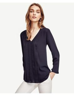 pleated-cutout-top by ann-taylor. #fashiontrend #dresses #outfit #gorgeous #shoptagr