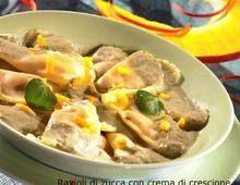 Ravioli di zucca con crema di crescione #ricette
