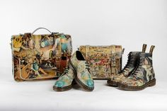 """Time capsule collection, Dr. Martens is artist reinterprets the famous triptych by Hieronymus Bosch """"The Garden of Earthly Delights."""" Dr. Martens has drawn inspiration from the work of Hieronymus Bosch and illustrates its mythical Boots and its 1461 derby paintings Hell and Heaven Garden  of Earthly Delights. Two bags satchels supple leather printed are also available. This capsule collection is now available on the website of Dr Martens and a selection of dealers."""