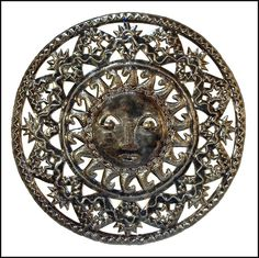 "Decorative Sun Metal Wall Decor - Haitian Steel Drum Art - 34"" - $159.95 -  Steel Drum Metal Art from  Haiti - Interior Decor or Garden Décor   * Found at  www.HaitiMetalArt.com"