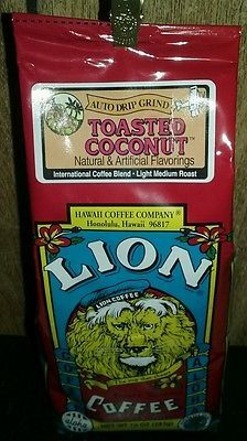 NEW 2X Lion toasted coconut flavored coffee 10 oz Hawaii's BEST coffee