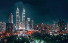 Kuala Lumpur à noite na Málasia