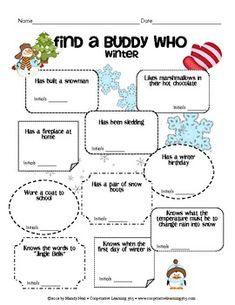 Find a Buddy Who - Winter - Cooperative Learning 365 - TeachersPayTeachers.com