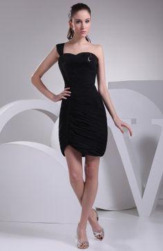 Black Modest Asymmetric Neckline Sleeveless Short Paillette Bridesmaid Dress