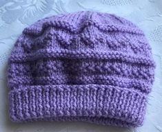 New Hand Knitted Baby Girls Lavender Textured Pattern Beanie Hat  0 - 3 Months