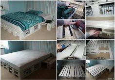 Sypialnia z PALET ze stolikiem nocnym <3
