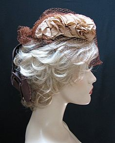 "1930s 40s BEIGE & BROWN HAT --SEWN DOWN RUFFLE AROUND THIS HAT IS BEIGE GROSGRAIN FABRIC, CROWN AND BOW ARE CHOCOLATE BROWN GROSGRAIN FABRIC. INTERIOR LINING HAS DARK BROWN FABRIC. THIS LITTLE HAT IS 7"" IN DIA. AND INTENDED TO SIT ON TOP THE HEAD SO IT IS A ONE SIZE FITS ALL. DARK BROWN GROSGRAIN FABRIC DOWN THE BACK HAS A LARGE 7"" BOW SUSPENDED FROM IT, THERE IS ALSO A DARK BROWN BAND STRAP THAT CONNECTS TO THE BOW ON EACH SIDE. BROWN VEIL CAN BE TIED IN THE BACK AS SEEN OR LEFT HANGING…"