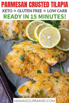 Prepare quick and easy Baked Parmesan Crusted Tilapia recipe in less than 15 minutes! This keto friendly, gluten free tilapia recipe combines lemon, mayo, and fresh parmesan cheese smothered on flaky fish and baked or broiled to perfection! Baked Parmesan Tilapia, Lemon Tilapia, Frozen Tilapia, Parmesan Crusted Tilapia, Tilapia Recipe Oven, Baked Tilapia Recipes, Seafood Recipes, Keto Recipes, Lunch Recipes