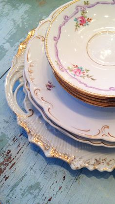 vintage china plates at Shabby Chic Couture