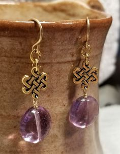 Handmade Earrings - 14K Gold-filled French Hooks w/Celtic and Purple Fluorite Drops by MartinMadeJewelry on Etsy