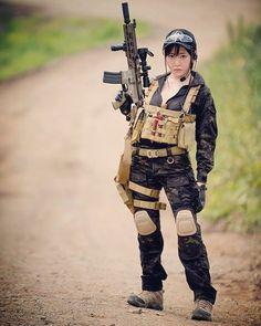 WEBSTA @ blueswallowtail - TOKYO MARUI HK416DC Airsoft AEG! Tokyo Marui, Female Soldier, Airsoft, Firearms, Guns, Beautiful Women, Military, Weapons Guns, Pistols