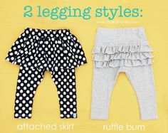 Tutorial for making baby leggings with ruffles and attached skirts.