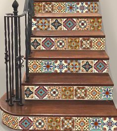 15steps Stair Riser Vinyl Strips Removable Sticker Peel & Stick : Spanish Mexican TR003-B by SnazzyDecal