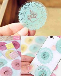 Lovely Round Lace Wall Stickers Mobile Phone Laptop Luggage Decal Decor NEW