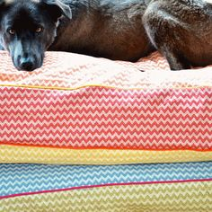 "Shek O Dog Department's ""ZigZag"" dog bed covers are made of linen-cotton – fabric that is beautiful, durable and machine washable. Each cover is handmade with love and dedication in accordance to your preferences."