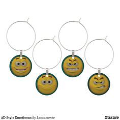 3D Style Emoticons Wine Glass Charm