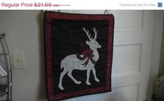 Christmas sale now on Wall hanging of Stag Christmas by EMTWTT, $19.13