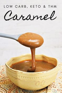 Easy Low Carb Caramel - My Table of Three My Table of Three Sugar Free Cookies, Sugar Free Desserts, Low Carb Sweets, Low Carb Desserts, Sugar Free Iced Coffee, Low Carb Sauces, Keto Sauces, Low Carb Noodles, Low Carb Pancakes