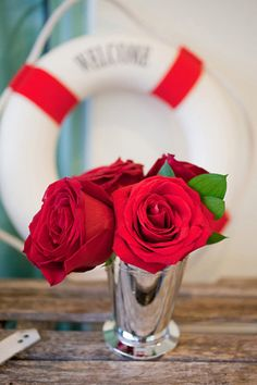 julep cup + red rose centerpiece | Captured Photography