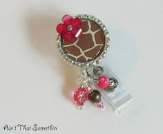 Giraffe Pattern with Pink Accents Retractable by AintThatSomethin, $11.00