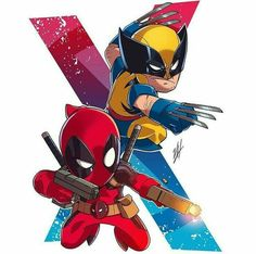 Deadpool and wolverine art. If you want more such images visit my board Chibi. Deadpool Chibi, Deadpool Wolverine, Chibi Marvel, Wolverine Art, Marvel Art, Marvel Heroes, Chibi Characters, Marvel Characters, Wolverine Tattoo