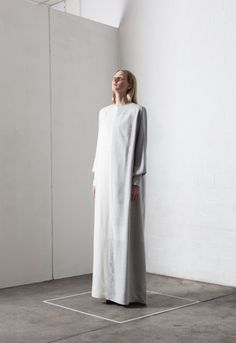 Contemporary Fashion - white minimal dress with clean lines; modern simplicity // Leoni Barth