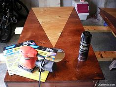 STAIN COLORS:  Natural and Red Oak  PROTECTANT:   Gloss Polyurethane  This post is to aid those in staining a triangle (pyramid) on a set of cornhole boards.  I decided that I wanted to make this