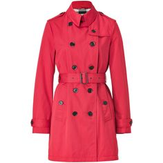 BURBERRY BRIT Military Red Cotton-Blend Pembrooke Trench Coat ($875) ❤ liked on Polyvore