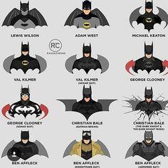 Evolution of Batman's suits and symbols. Evolution of Batman's suits and symbols. Batman Poster, Batman Artwork, Batman Wallpaper, Batman Tattoo, Batman Begins, Evolution Of Batman, Batman Vs Superman, Spiderman, Batman Kunst
