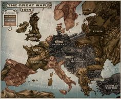 Alternate Europe map from the Leviathan Trilogy - Scott Westerfield