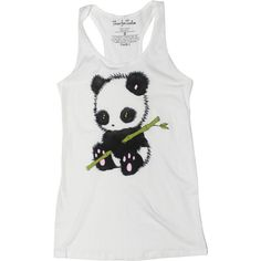 Panda White Tank Top ($2.99) ❤ liked on Polyvore featuring tops, shirts, tank tops, tanks, silver, women's clothing, white racerback tank, shirt top, white shirt and white top