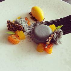 """Black sesame panna cotta & mandarin sorbet. Uploaded by @pastrycheffaraz #gastroart"""