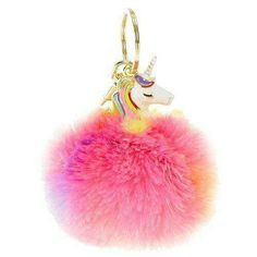 Everyone loves rainbows and unicorns! This rainbow pom pom has a unicorn face for a majestically fun look. - Pink fluffy p… Real Unicorn, Unicorn Face, Unicorn Gifts, Cute Unicorn, Rainbow Unicorn, Telephone Iphone, Unicorn Fashion, Unicorns And Mermaids, Love Rainbow